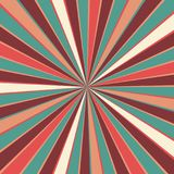 Retro starburst or sunburst background pattern with a vintage color palette of burgundy red pink peach teal blue and beige white. In a radial striped design stock illustration