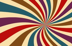 Retro starburst or sunburst background vector pattern of red purple blue brown and beige in a spiral or swirled radial stripes vector illustration