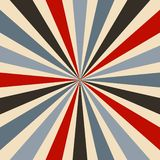 Retro starburst or sunburst background vector pattern with a vintage color palette of red blue black and gray in a radial striped stock illustration
