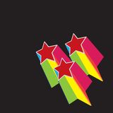 Retro stars. Colorful illustration of stars isolated over black background Stock Photography