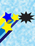 Retro Stars with Half-Tone Background. Yellow and Blue Retro Stars with Half-Tone Background and Black Interrupter Stock Photography