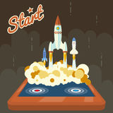 Retro Start Up Poster Concept Symbol Space Roket Royalty Free Stock Image