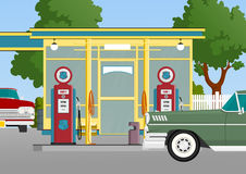 retro station för gas stock illustrationer