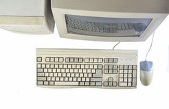 Retro stationary computer isolated on white background Monitor, system unit, computer mouse. Obsolete Technologies, top view. Retro stationary computer isolated stock images