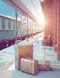 Retro stazione ferroviaria Fotografie Stock Libere da Diritti