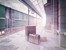 Retro stazione ferroviaria ferroviaria Fotografie Stock Libere da Diritti