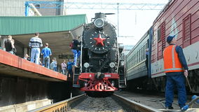 Retro steam locomotive in Kiev, Ukraine, Royalty Free Stock Images
