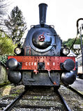 Retro steam locomotive. Railroad vehicle abandoned Royalty Free Stock Image