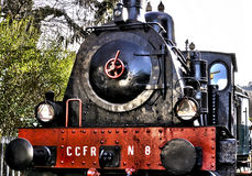 Retro steam locomotive 3. Retro steam locomotive railroad vehicle abandoned Royalty Free Stock Image