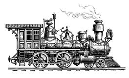 Retro steam locomotive, train. Vintage sketch vector illustration. Isolated on white background Royalty Free Stock Photography