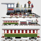 Retro steam train with coach. Illustration of Retro steam train with coach vector illustration