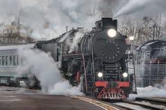 Retro steam train Stock Photo
