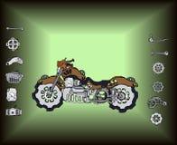 Retro Steampunk motorcykel stock illustrationer