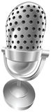 Retro steel radio microphone. A shiny silver steel metallic old style retro microphone  illustration with dynamic perspective. Can be used as an icon or Stock Photo
