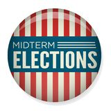 Retro Stem van Helft van het trimesterverkiezingen of Verkiezing Pin Button/Kenteken Stock Fotografie