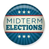 Retro Stem van Helft van het trimesterverkiezingen of Verkiezing Pin Button/Kenteken Stock Foto