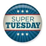 Retro Stem of Verkiezing Pin Button of Kenteken - Super Dinsdag Royalty-vrije Stock Afbeelding