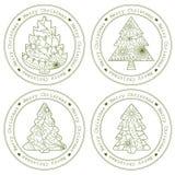 Retro- Stempel mit Weihnachtsbäumen vektor abbildung