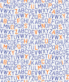 Retro stencil alphabet on squared notebook page seamless pattern Stock Photo