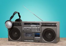 Retro stereo. Audio banner desk radio disco cool royalty free stock images