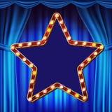 Retro- Stern-Anschlagtafel-Vektor Blauer Theater-Trennvorhang Glänzendes helles Zeichen-Brett Realistischer Glanz-Lampen-Rahmen 3 stock abbildung