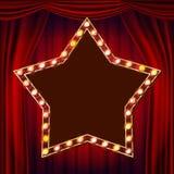 Retro- Stern-Anschlagtafel-Vektor Roter Theatertrennvorhang Glänzendes helles Zeichen-Brett elektrisches glühendes Element des St lizenzfreie abbildung
