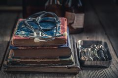 Retro stethoscope as education concept of medical royalty free stock photography