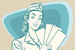 Retro stewardess with ticket Stock Photos