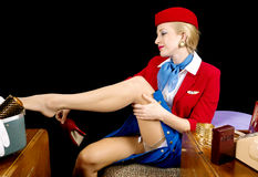 Retro Stewardess Undressing Royalty-vrije Stock Foto