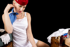 Retro Stewardess Undressing or Dressing Royalty Free Stock Image