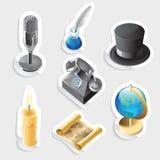 Retro sticker icon set. Sticker icon set for retro.  Vector illustration Stock Photo
