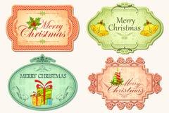 Retro Sticker van Kerstmis Royalty-vrije Stock Fotografie