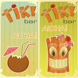 Retro stickers for Tiki bars. Hawaiian party, two postcards in vintage style with hand drawn text Aloha and Tiki - illustration Royalty Free Stock Photography