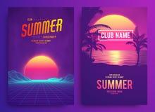 Retro stijl van de achtergrond futuristische landschapsjaren '80 Cocktail party, Elektronische muziek fest, elektro de zomeraffic vector illustratie