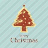 Retro stijl van de kerstboom Stock Fotografie