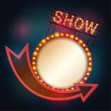 Retro stijl van het Showtimeuithangbord met licht kader Stock Foto