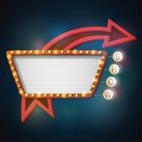 Retro stijl van het Showtimeuithangbord met licht kader Stock Foto's