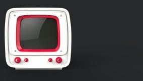 Retro stijl witte Televisie met rode details royalty-vrije illustratie
