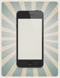 Retro stijlachtergrond met mobiele telefoon Stock Afbeeldingen