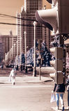 Retro stijlbeeld van verkeerslicht, infrarode mening Royalty-vrije Stock Foto's