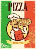 Retro stijlchef-kok die een plaat van pizza voorstellen stock illustratie
