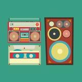 Retro stijlinzameling van musical verwante punten vector illustratie