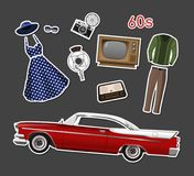 Retro stikers. Set of vintage objects. On white background. Old fashion 60s. Icons of cars, clothes and electronics. Vector illustration Stock Photo