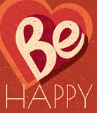 Retro stil är den lyckliga logotypen, symbol Var den lyckliga banermallen Var den lyckliga kortmallen Handen drog affischen är ly stock illustrationer