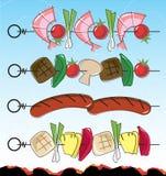 retro stil för bbq-kebabs Arkivfoto