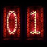Retro stil för Nixie rörindikator Siffra 0, 1 Arkivfoto