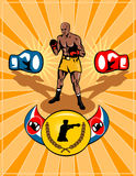 retro stil för boxningaffisch Arkivfoton