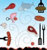 Retro-stil grillfestsymboler som svävar ovanför varma kol! Arkivfoto