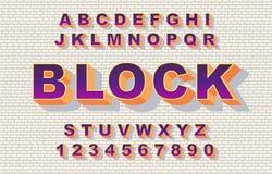 retro stile dell'arcobaleno della fonte di alfabeto di 80 s, annata illustrazione vettoriale