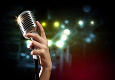 Retro stile dell'audio microfono Fotografia Stock